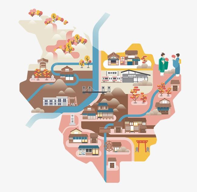 搜图中国 元素 >手绘地图背景图案  手绘地图 路线图 卡通地图 【本