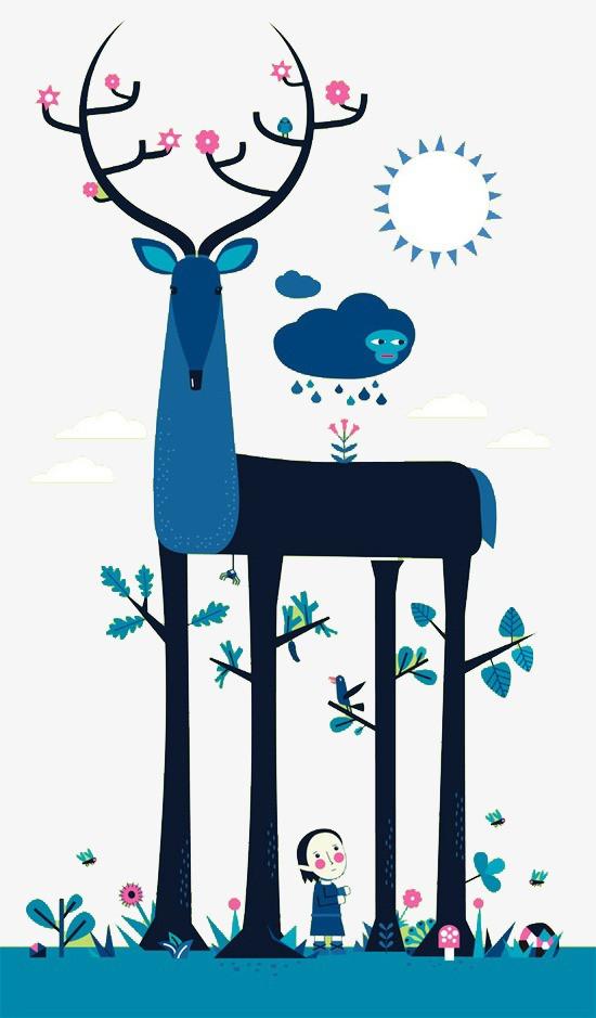 搜图中国 元素 >森林麋鹿  卡通 插画 儿童插画 童话 童话森林 梦幻