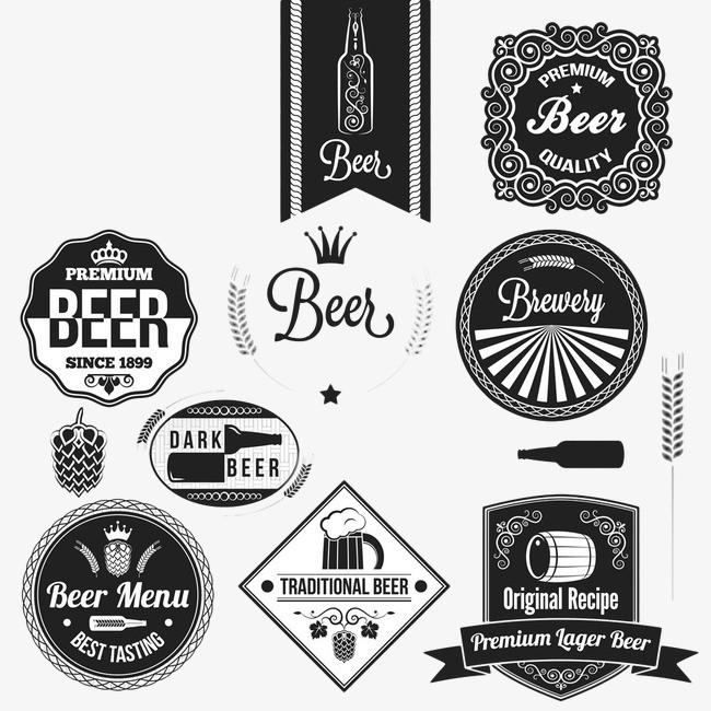 搜图中国 元素 >黑白手绘啤酒元素  酒 啤酒 饮料 美食 食品 元素