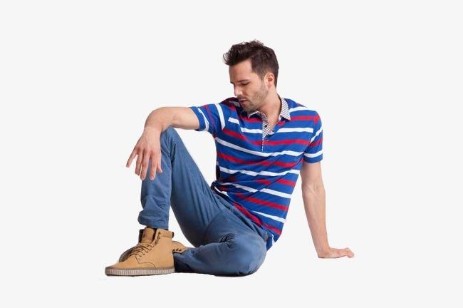 外国男模特坐在地上  男模拍摄图 男模衣服淘宝图 男模衣服天猫图