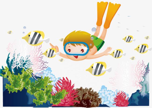 搜图中国 元素 >潜水矢量图  潜水 海底 鱼 珊瑚 海底世界 卡通手绘