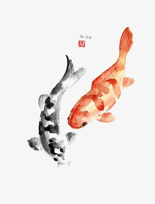 搜图中国 元素 >水彩鲤鱼  创意鲤鱼 水墨鲤鱼 中国风 中国画 锦鲤