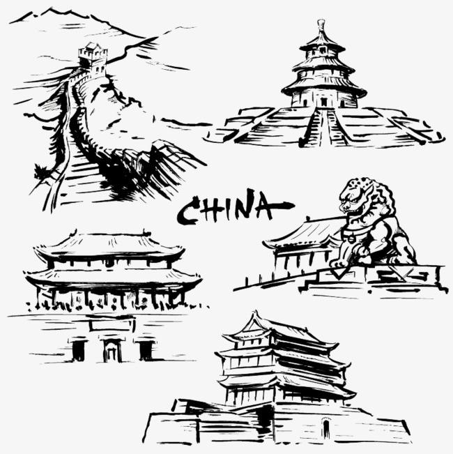 搜图中国 元素 >黑白手绘古建筑  中国风 石狮子 长城 故宫 【本作品