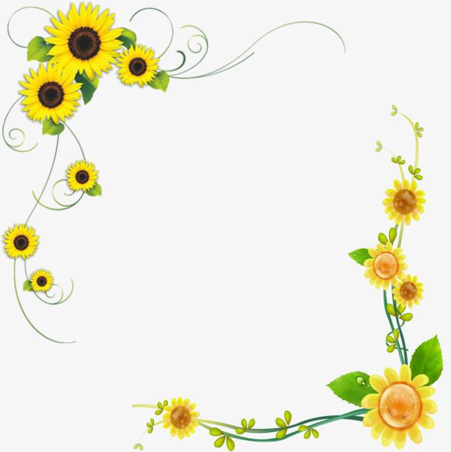 搜图中国 元素 >向日葵  装饰边框  花卉  藤蔓    黄色 【本作品下载