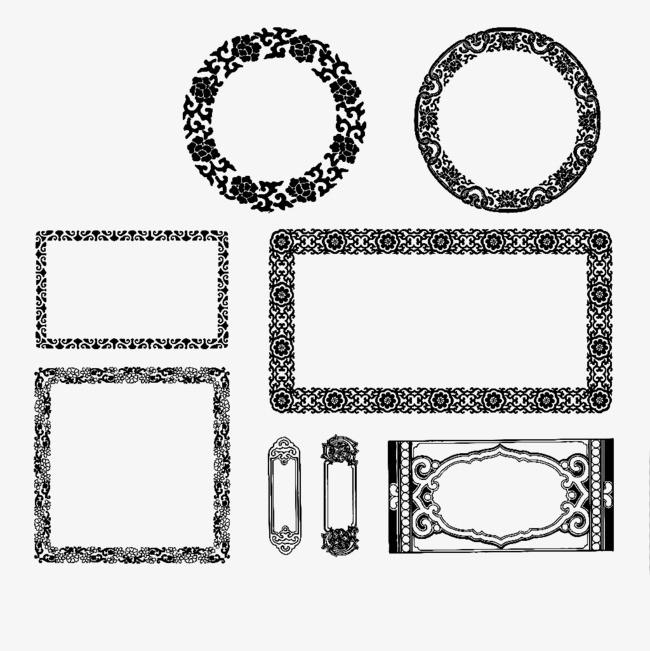 黑色 中式边框 矢量 png素材 png免费下载
