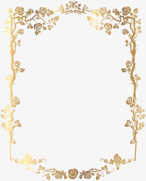 搜图中国 元素 >黄金材质边框  金色 边框 玫瑰边框 高档 相框 【本作