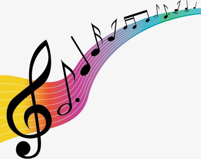 彩色花纹音乐符号矢量素材