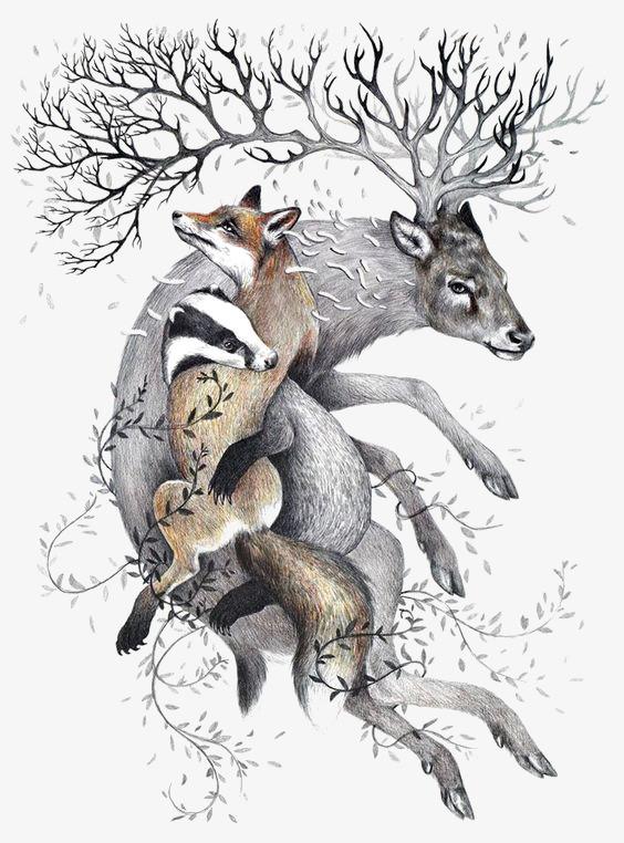搜图中国 元素 >手绘小鹿  小鹿插画 动物 鹿角 狐狸 卡通小鹿 动物插