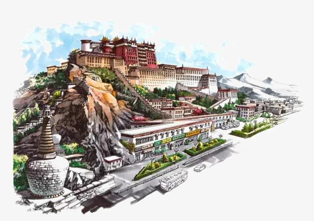 建筑风景 设计手绘 【本作品下载内容为: 水彩建筑拉萨布达拉宫模板】