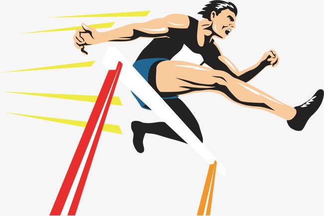 元素 >田径运动员跳跃障碍  跨栏    跳跃    跑步    运动    矢量图