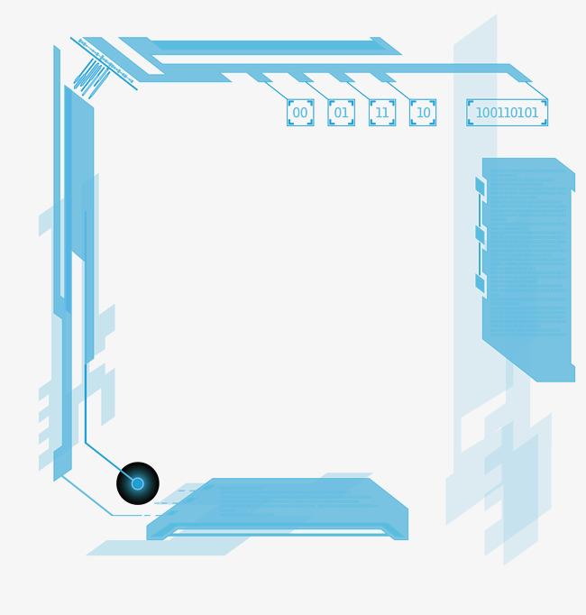 矢量科技藍色機械邊框素材