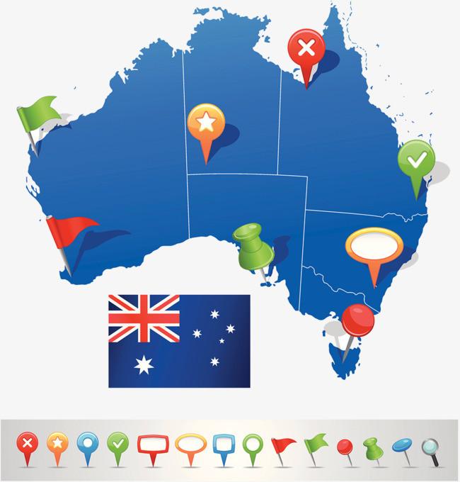 搜图中国 元素 > 澳大利亚指南地图  澳大利亚地图 地图标注 导航目的