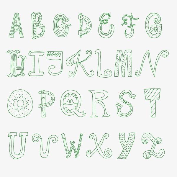 绿色英文字母 粉笔字 卡通字图片