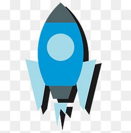 矢量扁平化蓝色卡通火箭