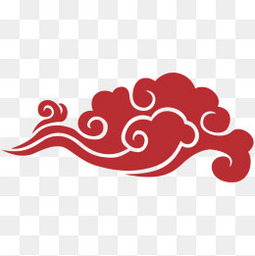 红色中国风祥云剪纸装饰
