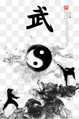 中国武术功夫文化贴图海报背景