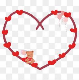 情人節紅色心形氣球小熊可愛