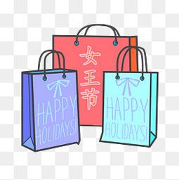 女王节女神节购物袋元素