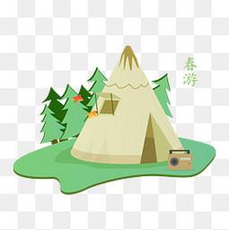 春天春游踏青帐篷元素
