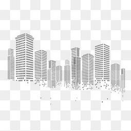 几何方块颗粒像素化城市建筑