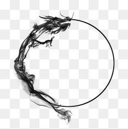 古風巨龍水墨龍墨跡圓圈