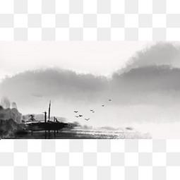 黑色中國風水墨畫作邊框紋理