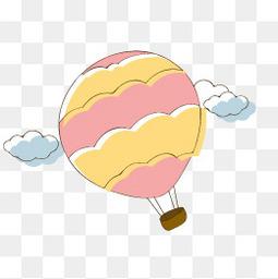 手绘卡通热气球矢量