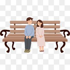 520情人节卡通长椅情侣人物元素