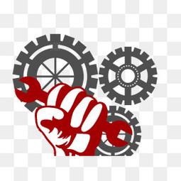 五一勞動節齒輪元素