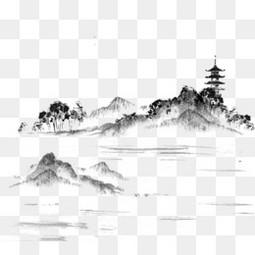 中国风书画漂浮素材
