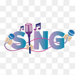 創意藝術字 sing 歌唱 音樂 話筒