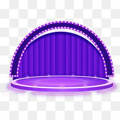 618紫色炫酷舞台效果元素