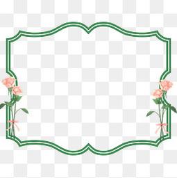 花朵绿色节日边框