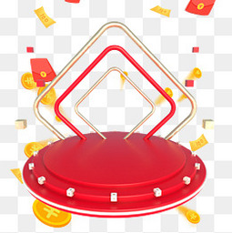 节日电商红包大红舞台装饰