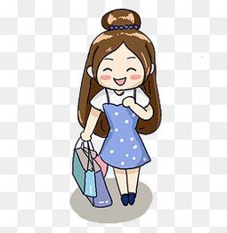开心过节逛街购物卡通女孩