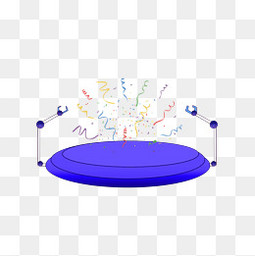 蓝色舞台电商元素装饰透明图