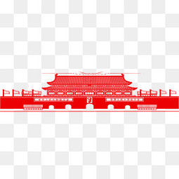 手绘红色天安门剪纸免费下载