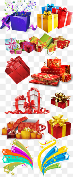 各色多彩礼物盒礼物集合