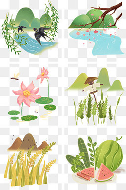 24节气风景插画
