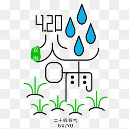 卡通创意谷雨艺术字