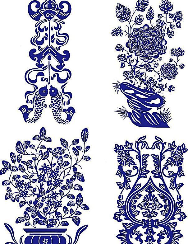 陶瓷花纹 陶瓷纹样 陶瓷 花纹 手绘花纹 花卉 花矢量 植物矢量 青花