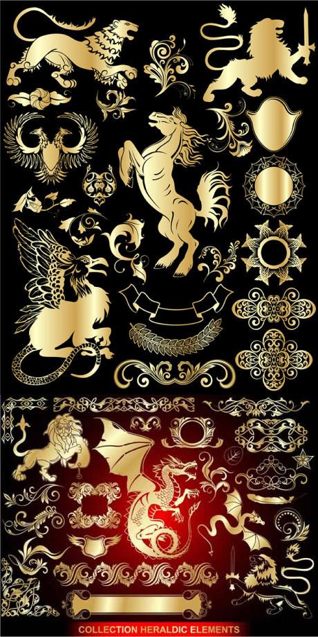 搜图中国提供独家原创欧式花纹边框飞马双头鹰矢量素材下载,此素材