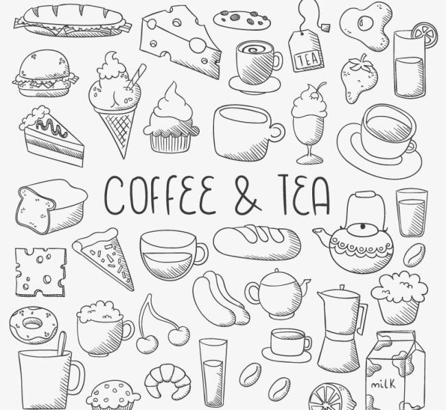 手绘咖啡与甜点食物矢量图