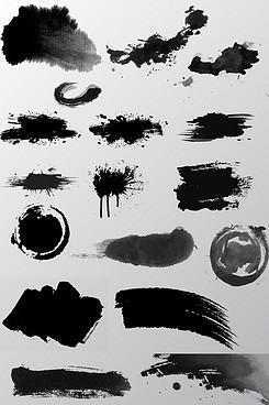 天猫淘宝水墨素材水墨笔触元素