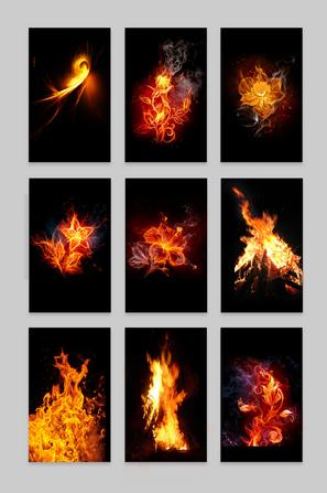 燃烧火焰梦幻花朵火元素素材