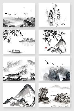 中国山水国画水墨画素材