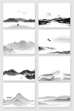 黑白水墨国画山水风景画素材