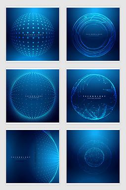 矢量蓝色科技球形网点