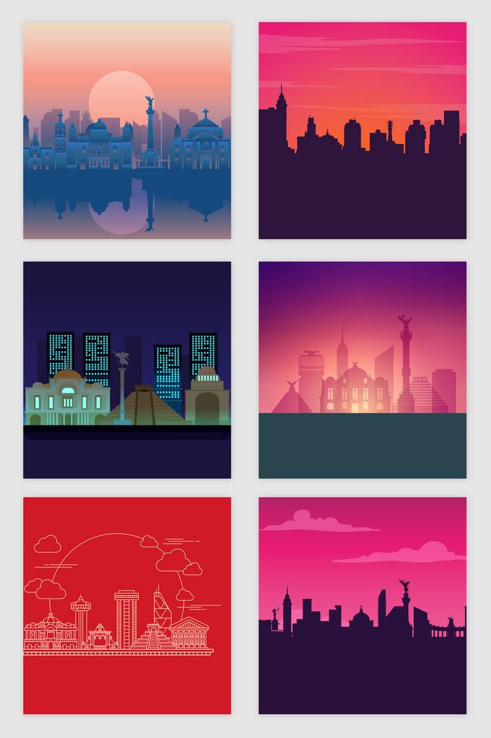 光效线描剪影彩色城市矢量素材