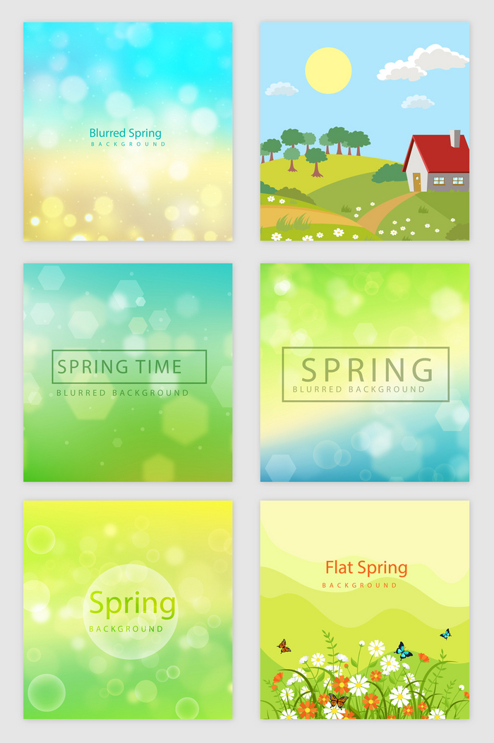 春天绿色自然光效花朵矢量素材